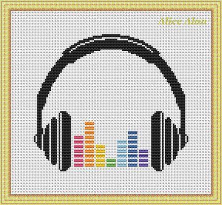 Cross Stitch Pattern Music Silhouette headphones by HallStitch