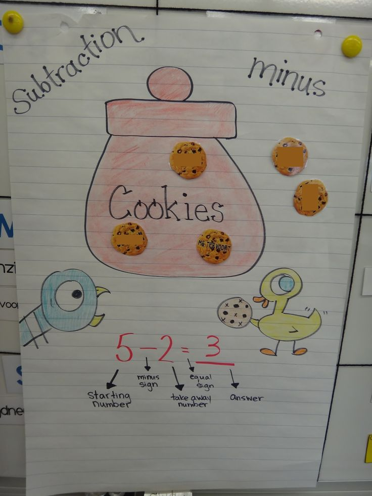 subtraction-- use with The Duckling Gets a Cookie?! by Mo Willems this is a great math center with a fun literature tie in!