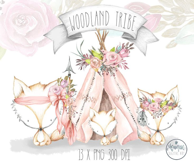 Boho Teepee Clipart,Watercolor feathers and flowers wreath,Clipart,Nursery Woodland Clipart,Fox,Baby Shower,Teepee Birthday,Planner Clipart by MoniqueDigitalArt on Etsy