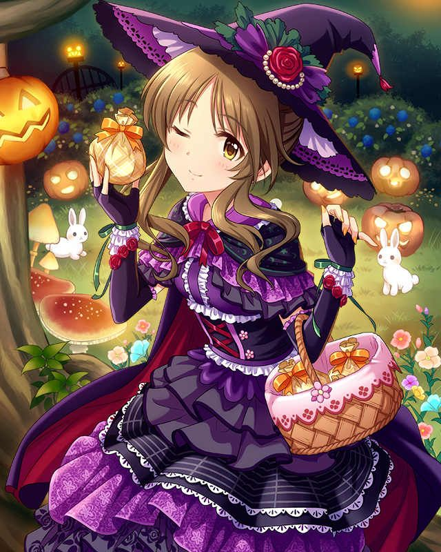 HAPPY HALLOWEEN~~★ anime art. . .halloween costume. . .witch costume. . .witch hat. . .cape. . .gothic dress. . .lace. . .corset. . .ribbons. . .gloves. . .jack o lanterns. . .pumpkins. . .forest. . .rabbits. . .cute. . .kawaii