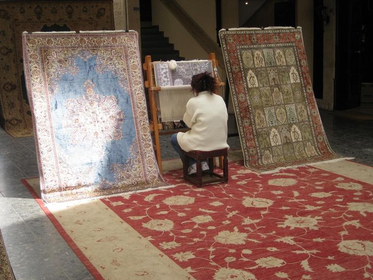 Turkish woman making rugs, absolutely amazing