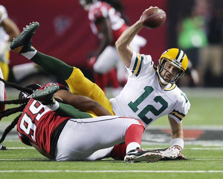 Packers vs. Falcons:    October 30, 2016  -  33-32, Falcons  -      October 30, 2016 ATLANTA: Falcons defensive end Adrian Clayborn sacks Packers quarterback Aaron Rodgers during the third quarter in an NFL football game on Sunday, Oct. 30, 2016, in Atlanta. Curtis Compton /ccompton@ajc.com