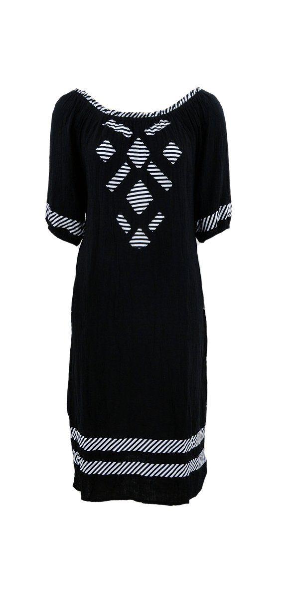 Cafe Latte - Black Stripe Applique Cotton Dress - Clw878