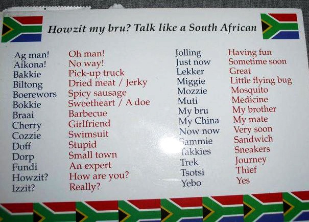 Talk like a South African