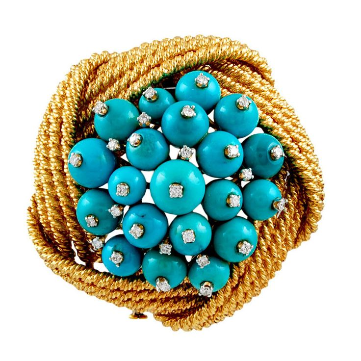 DAVID WEBB Diamond Turquoise Bead Pin | From a unique collection of vintage brooches at http://www.1stdibs.com/jewelry/brooches/brooches/