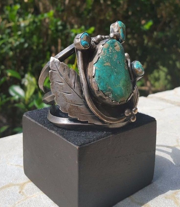 LARGE STERLING SILVER VINTAGE TURQUOISE CUFF BRACELET in Jewelry & Watches, Ethnic, Regional & Tribal, Native American, Bracelets | eBay