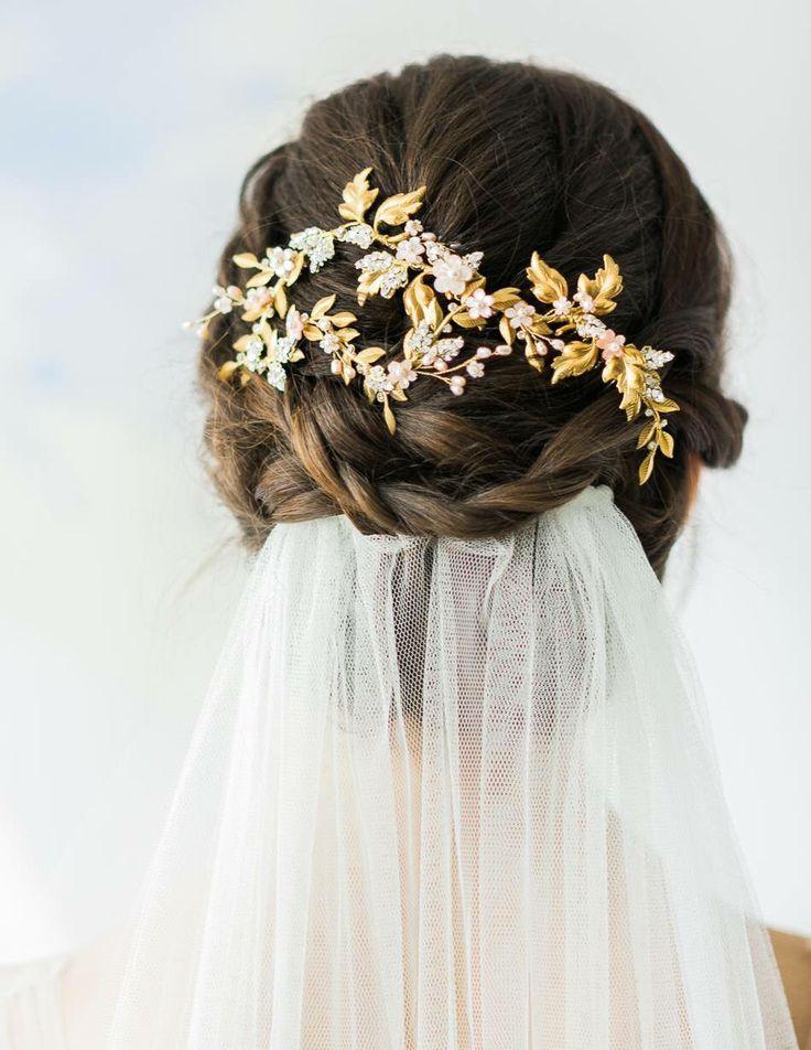Wedding Hair. Embellished Crown. Hair Accessories. Vale. Wedding Looks.