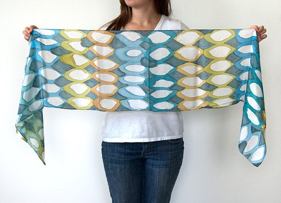 Hand Painted Silk Scarf Shelly One of a Kind by littlethingsstudio