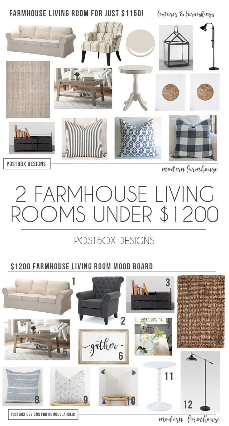 Postbox Designs E Design: Get 2 Modern Farmhouse Living Rooms For Under  $1200: Grab The FREE Mood Board U0026 Shopping List Here, Online Interior Design,  ...