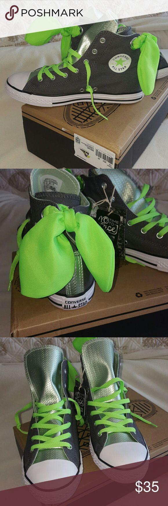 Converse NWT converse dark grey, silver and neon green. Super cute!!! Converse Shoes Sneakers