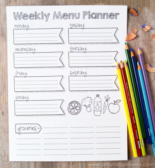 I like this simple menu planner page for a home management binder!