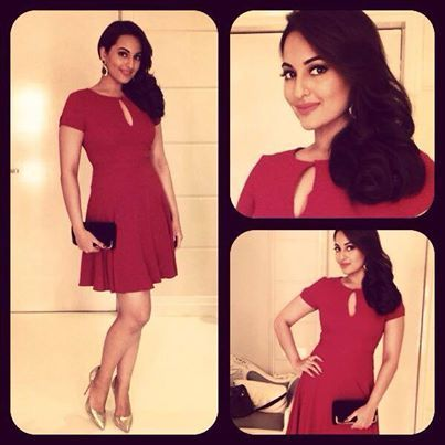 Sonakshi Sinha all set for Dabboo Ratnanis calendar launch tonight! In a DVF dress and Dune pumps styled by Sakshi Mehra.