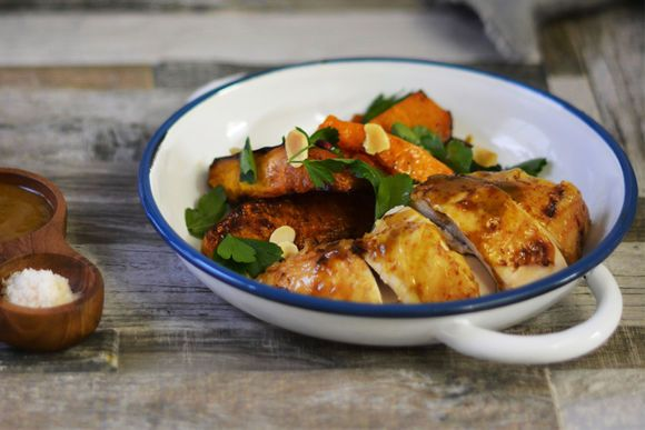 Moroccan Roast Chicken with Pumpkin and Almonds - Maggie Beer