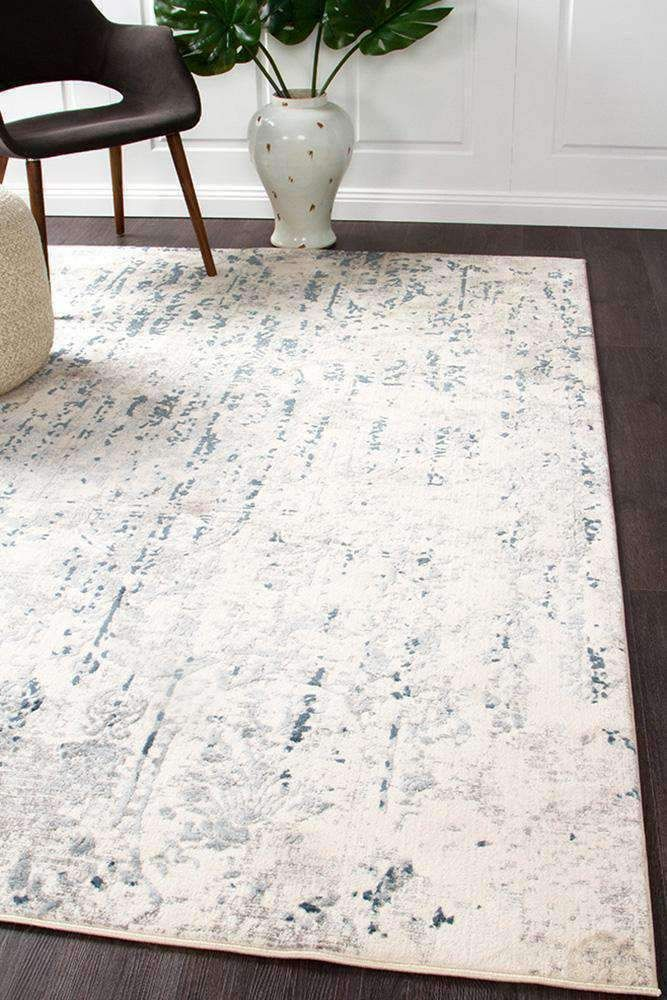 Farah Distressed Contemporary Rug White Blue Grey Rug Emporium Blue And White Rug Grey And White Rug White Rug