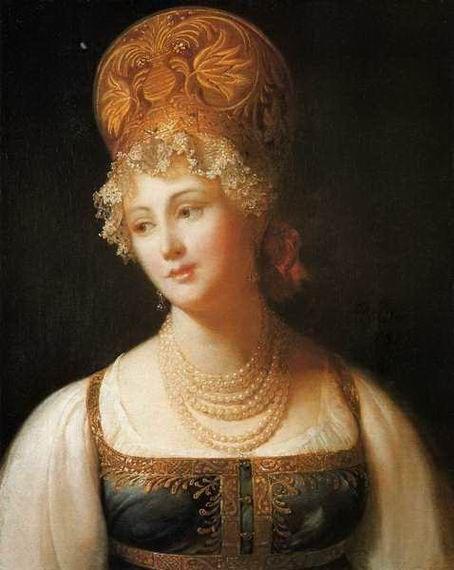 П. Барбье. Портрет молодой женщины в русском сарафане, 1817 год