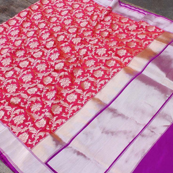 Orange-Rani Pink Pure Silk by Georgette Banarasi Handloom Saree