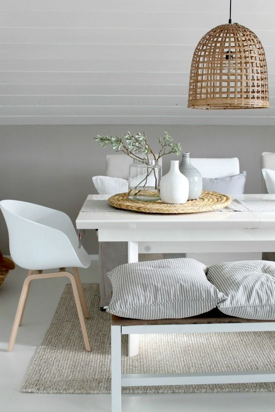 Casual + Modern Dining Room - cushions on a bench, white mod seats, mix in natural elements