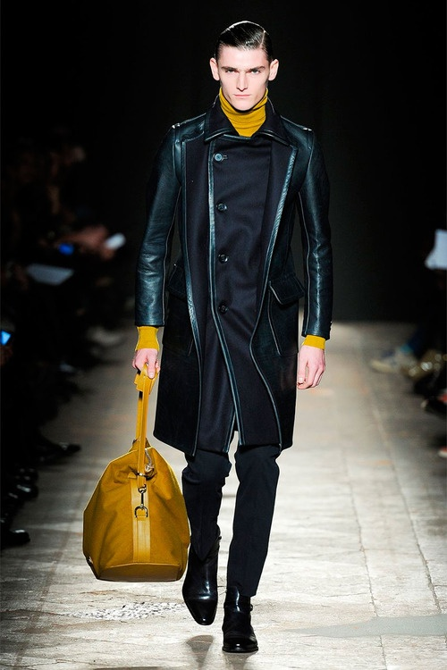 Black Nylon and Leather Double Breasted Overcoat, Goldenrod Yellow Turtleneck and Mans Bag, by Daks, Mens Fall Winter Fashion.