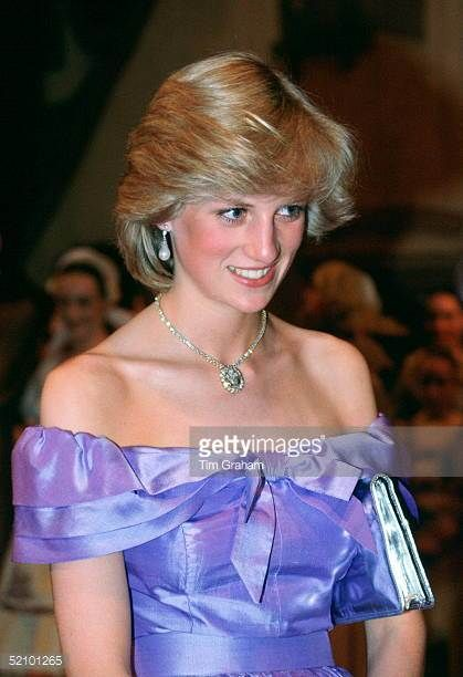 Diana Princess Of Wales Attendng The Ballet 'coppelia' During Her Official Tour Of New Zealand The Princess Is Wearing A Mauve Evening Dress Designed...
