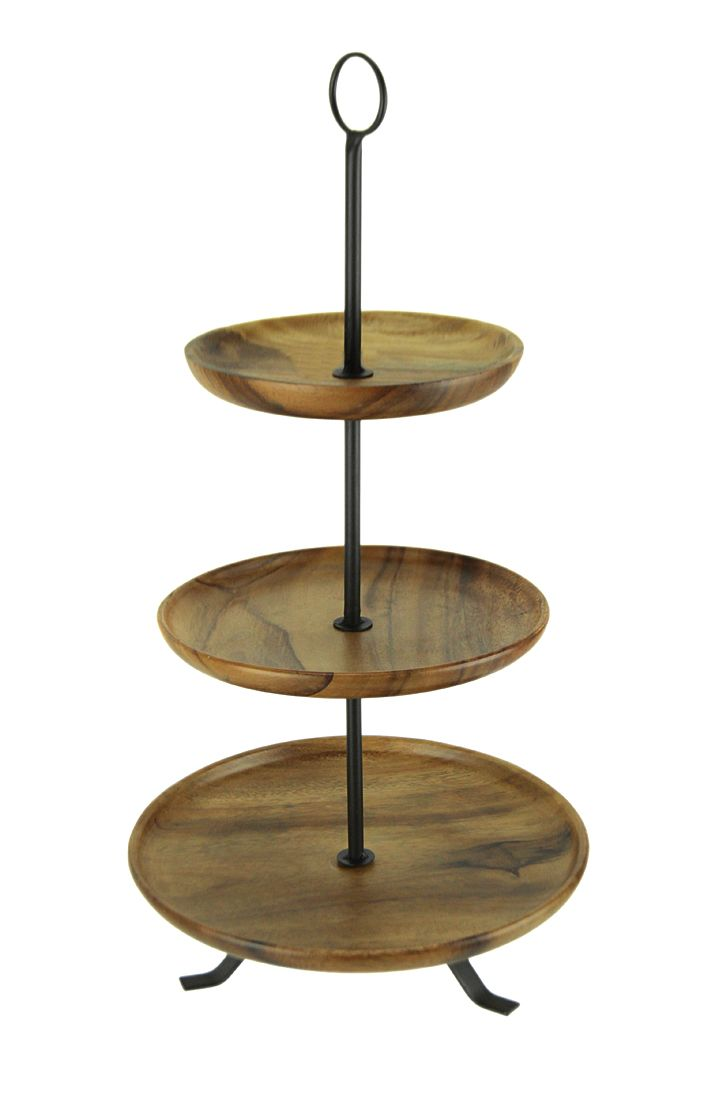 Rustic Round Wood Standing 3 Tiered Serving Tray Walmart Canada Tiered Serving Trays Wood Stand Rustic