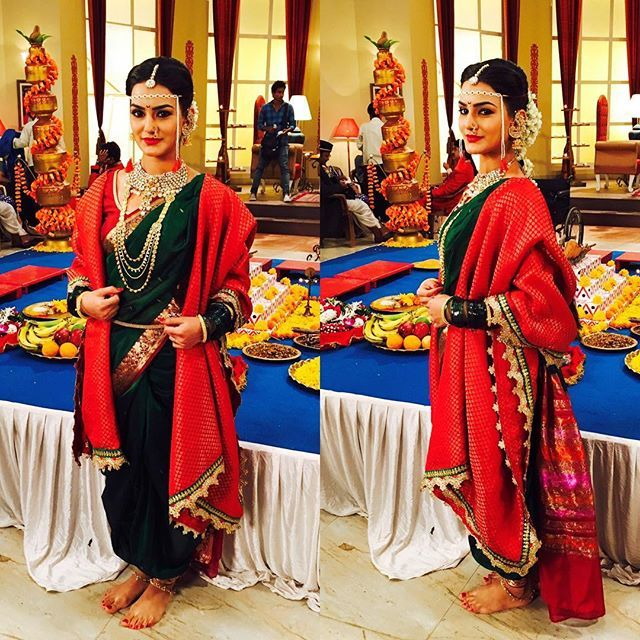 Today's look  #maharashtrianbride #nawarisari #marriagesequence #ifeelgood #Krishnadasi #Colors