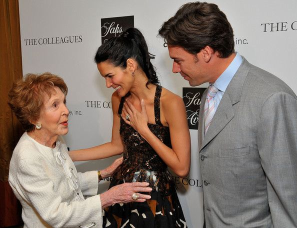Angie Harmon Jason Sehorn Photos - (L-R) Former First Lady Nancy Reagan, actress Angie Harmon, and her husband Jason Sehorn attend Saks Fifth Avenue's 20th Annual Spring Luncheon at the Beverly Wilshire Hotel on April 9, 2008 in Beverly Hills, California. - Saks Fifth Avenue's 20th Annual Spring Luncheon