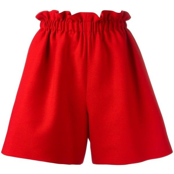 Fendi wide leg shorts (1,313 CAD) ❤ liked on Polyvore featuring red, pocket shorts, stretch waist shorts, ruched shorts, elastic waist shorts and fendi