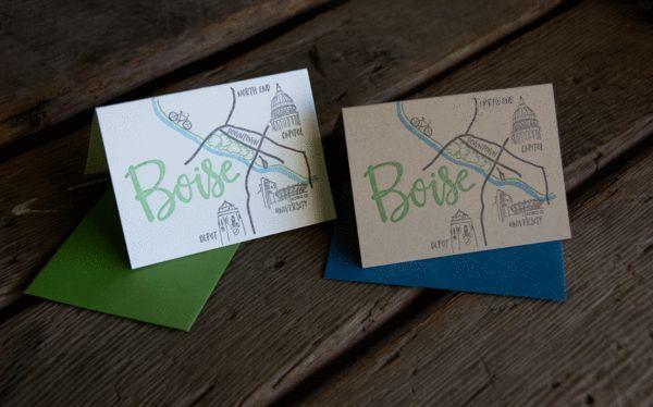 Boise Map Card, letterpress printed eco friendly