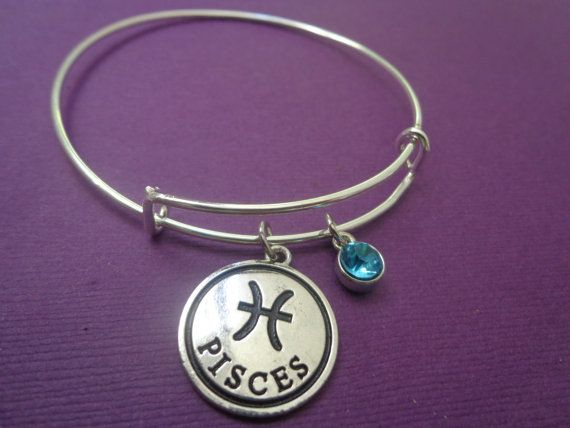 Zodiac Jewelry ~ Pisces Bracelet,Aquamarine Birthstone Jewelry for March Birthday,Pisces Birthday gift for her, Alex and Ani Inspired bangle