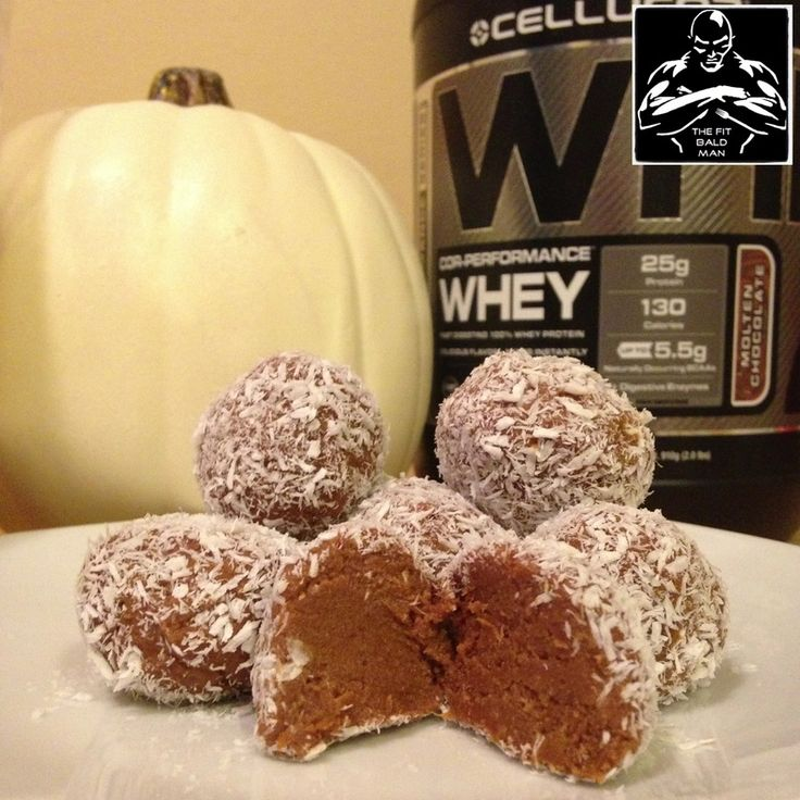 Pumpkin Coconut Protein Balls!  38 calories per ball based on 8 balls. (makes approx. 8 balls) Fat-1g/Carbs-3g/Protein-4g/ Fiber-.5g  Ingredients: 1 scoop chocolate protein powder 3 TBS coconut flour 1/2 cup canned pumpkin 2 TBS unsweetened almond milk 1 tsp granulated stevia Pinch of cinnamon and sea salt  2 TBS unsweetened shredded coconut (for outside)