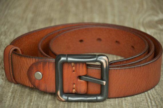 Mens Leather Belt Strap Cowhide Belt Tan Brown Belt by SherryJewelry, $27.00