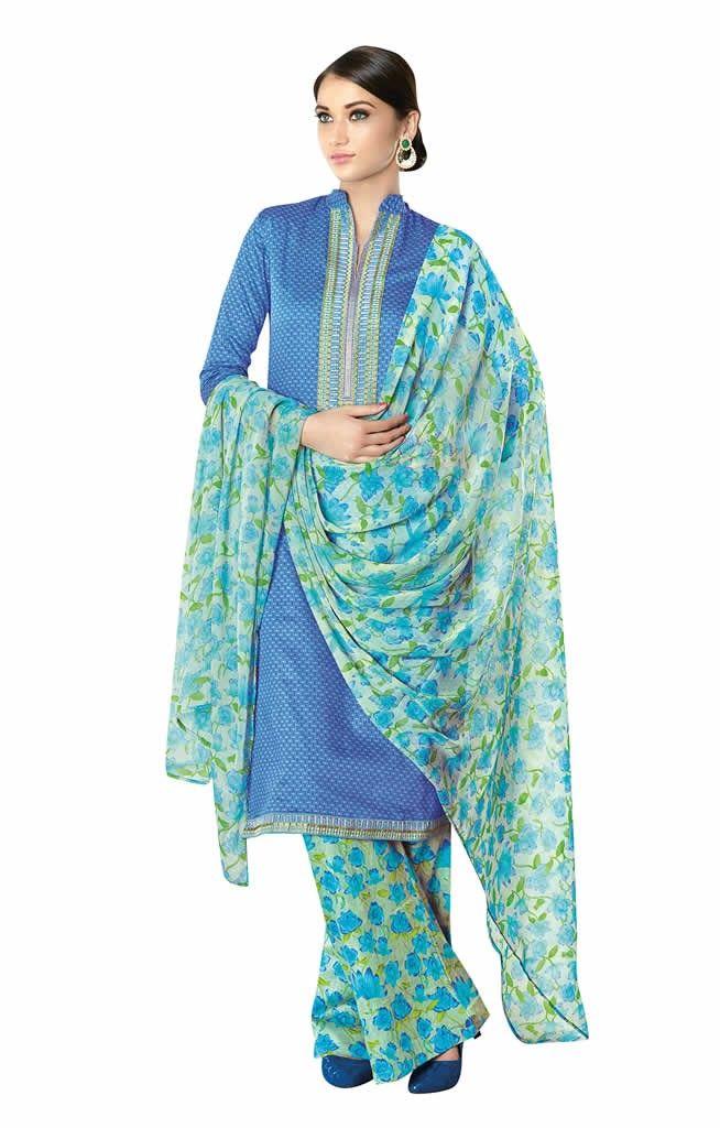 buy saree online Blue Colour Satin Cotton Printed Causal Wear Suit. Buy Saree online - Buy Sarees online