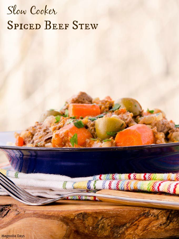 Slow Cooker Spiced Beef Stew with carrots, onion, olives, and garlic ...