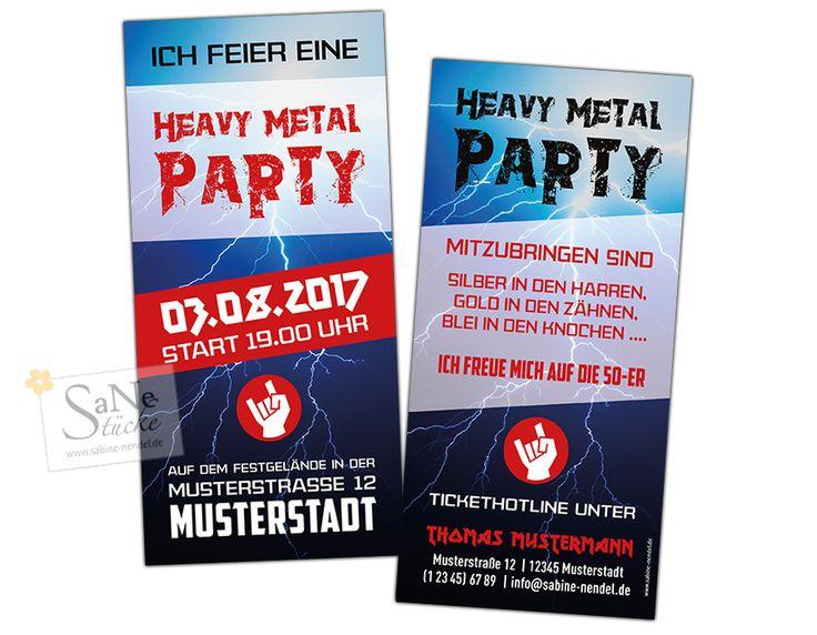 Einladung zur eigenen Heavy-Metal-Party, für alle mit Silber in den Haaren, Gold in den Zähnen und Blei in den Knochen. Spaßeinladung zum fünfzigsten Geburtstag oder auch jünger und älter.