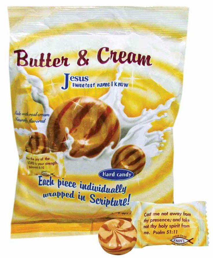Butter & Cream! Enjoy the delicious taste of toffee and cream. Made with real cream. Each piece is wrapped in a scripture verse. Great for candy dishes!