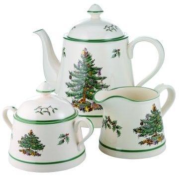 Spode fine china Christmas tree tea set.