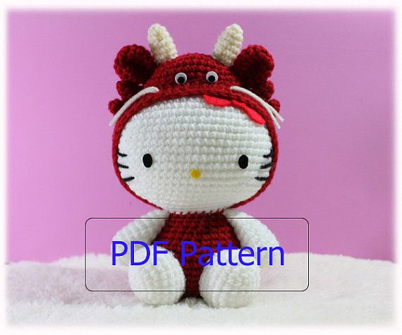 PDF Pattern Amigurumi Hello Kitty in Dragon Costume / Chinese Zodiac Dragon