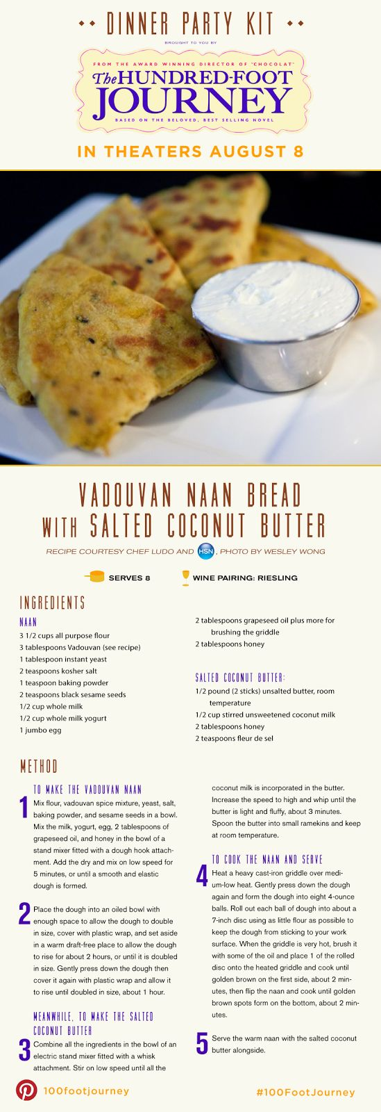 "Vadouvan Naan Bread with Salted Coconut Butter Recipe from the movie ""The Hundred-Foot Journey"""