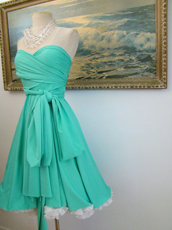 Tiffany blue convertible wrap circle dress