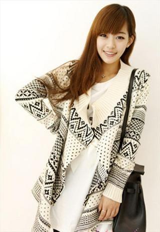 Chunky Knit Waterfall Cardigan (Cream/Black)