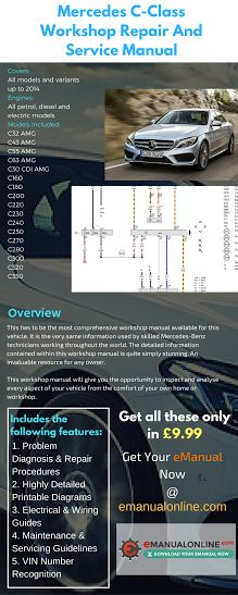 Mercedes C-Class Workshop Repair And Service Manual. This has to be the most comprehensive workshop manual available for this vehicle.
