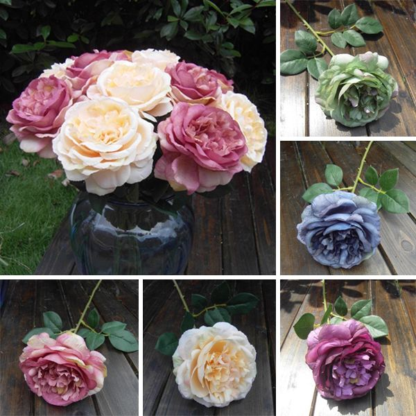 Artificial Silk Rose Flower Leaf Bouquet Party Garden Decor Flower Arrangement Free Shipping