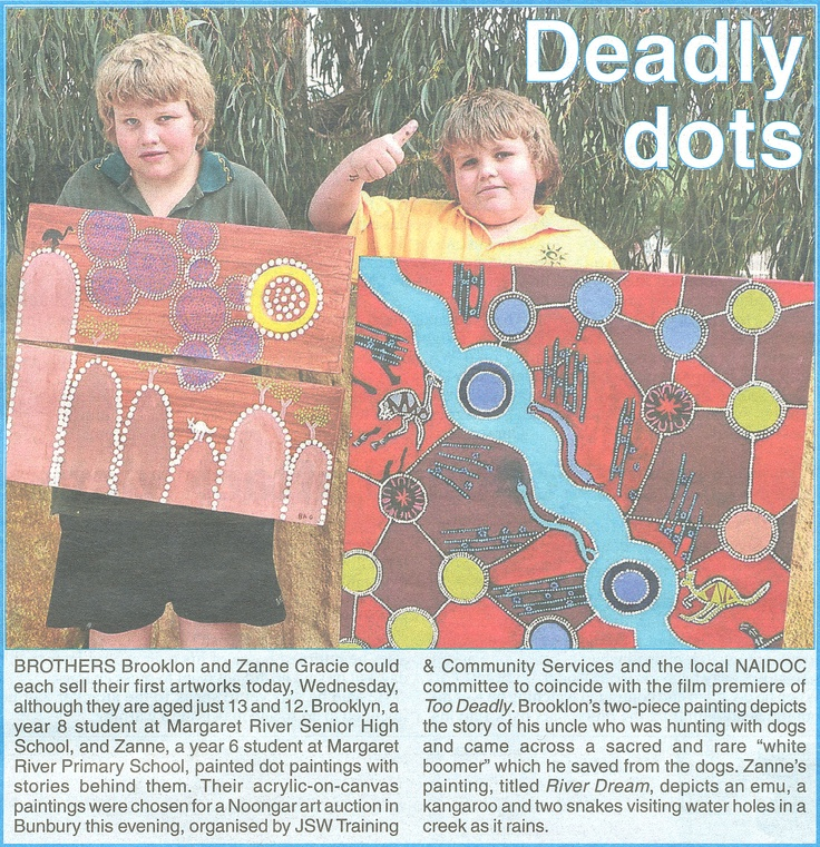 BROTHERS Brooklon & Zanne Gracie could each sell their first artworks today, although they are aged just 13 and 12. The brothers painted dot paintings with stories behind them. Their acrylic-on-canvas paintings were chosen for a Noongar art auction in Bunbury this evening, organised by JSW Training & Community Services and the local NAIDOC committee to coincide with the film premiere of Too Deadly.