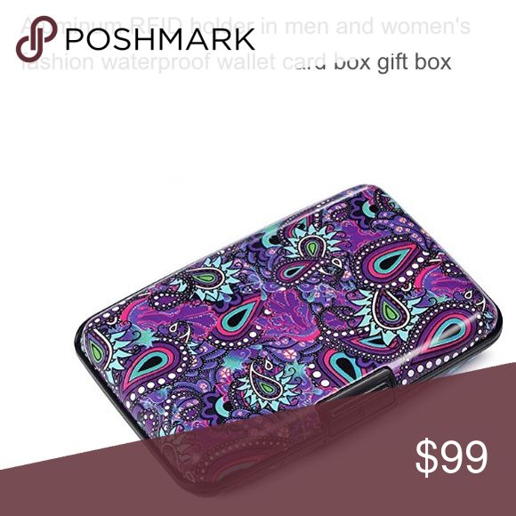 NWT RFID Aluminum Fashion Wallet Credit Card Case Lovely paisley designs in blue, purple, green, red & black. protect your cards from identity theft! Are you worried about crimes which illegelly collect your card information?  RFID protection card holder can block unwanted RFID scanners. convenient, portable, Durable, Sturdy, Modern water resistant and fashionable.  Aluminum Wallet is the perfect modern accessory. Combine strength, durability and security without sacrificing the convenience…