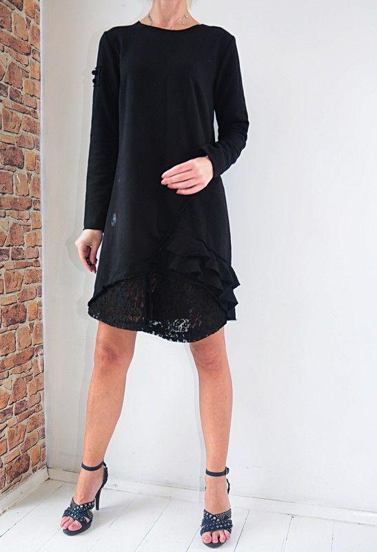 3cdfaf02e5 Elite sukienka czarna dresowa z koronką 36   38 - Vinted