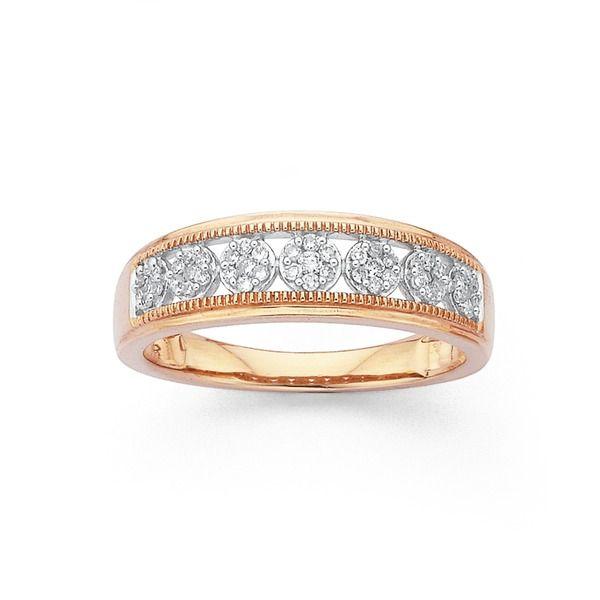 9ct Rose Gold Diamond Multi Cluster Ring