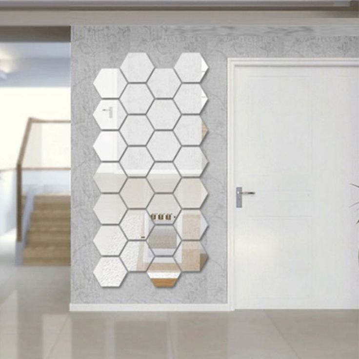 Mirrored Hexagonal Wall Decoration (7 Pc)-Wall Art-Tac City Goods Co.