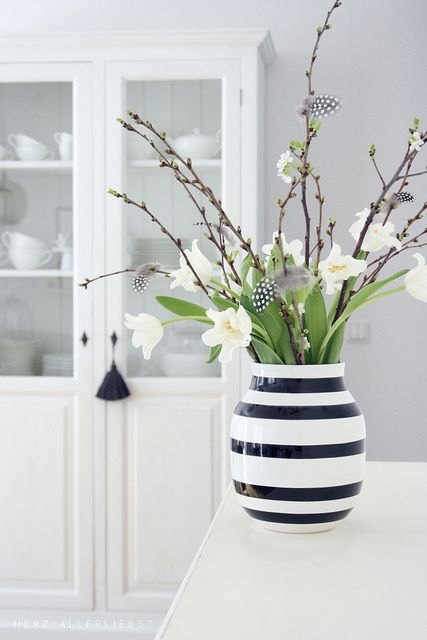 Spring flowers in white…just as pretty and springy and their brightly colored counterparts! #springhassprung #springdecor