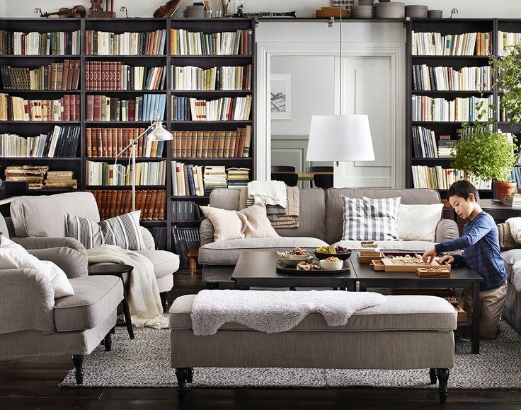 IKEA STOCKSUND 3-sits soffa med två stycken fåtöljer i NOLHAGA gårbeige klädsel.