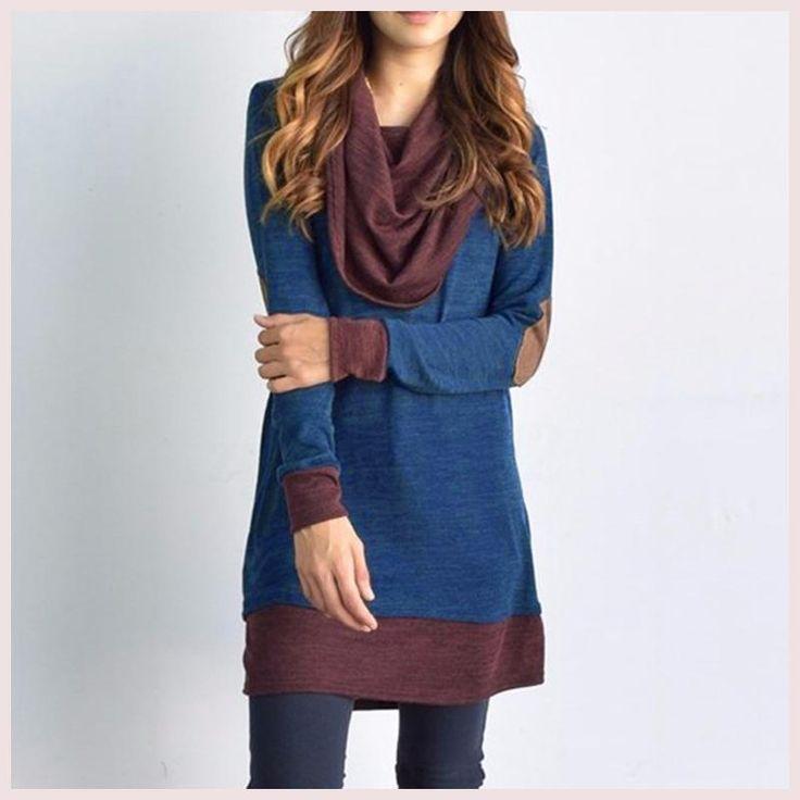 Women Long Sleeve Patchwork Tops Ladies Cowl Neck Long Pullover Casual Women Tops Blouse Shirt Female Blusa Plus Szie S-5XL